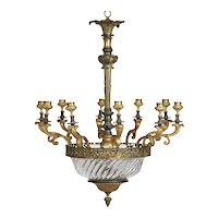 French Antique Crystal Chandelier Candelabra, Early 20th Century