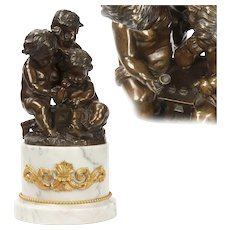 Paul Machault Antique Bronze Sculpture of Putti Cherubs