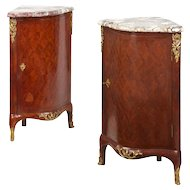 Pair of Louis XV Style Ecoignures Antique Cabinets, 19th Century