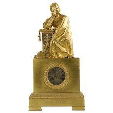French Empire Gilt Bronze Antique Mantel Clock, Pons c. 1830