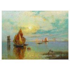 """View of Venice"" Antique Oil Painting by Nicholas Briganti"