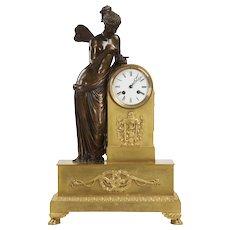 French Antique Bronze Mantel Clock of Psyche c. 1870 in Gilt Ormolu