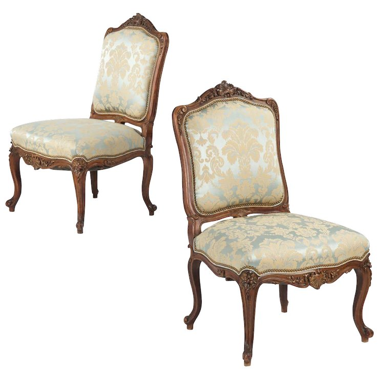 Pair of Rococo Revival Antique Chairs, Carved Walnut c. 1860-80 - Pair Of Rococo Revival Antique Chairs, Carved Walnut C. 1860-80