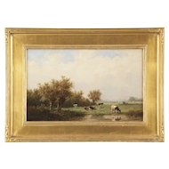 Anthonie Jacobus van Wyngaerde Dutch Antique Painting of Cows at Pasture