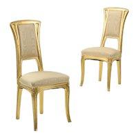 Pair of Art Nouveau Giltwood Antique Side Chairs