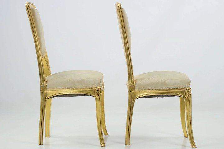 Pair of Art Nouveau Antique Side Chairs, Early 20th Century - Pair Of Art Nouveau Antique Side Chairs, Early 20th Century : Silla