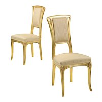 Pair of Art Nouveau Antique Side Chairs, Early 20th Century