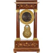 Empire Style Inlaid Rosewood Antique Portico Mantel Clock, 19th Century