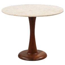Danish Mid Century Modern Travertine and Sculpted Teak Side Table