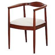 Vintage Mid Century Modern Sculpted Walnut Round Arm Chair