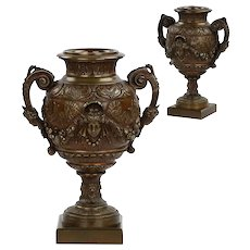 Pair of French Antique Bronze Vases Urns Garnitures, 19th Century
