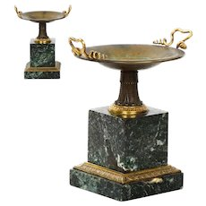 Pair of French Antique Bronze and Marble Garniture Tazzas, 19th Century