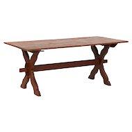 American Scrubbed Pine Farm Table w/ Trestle Base, 20th Century