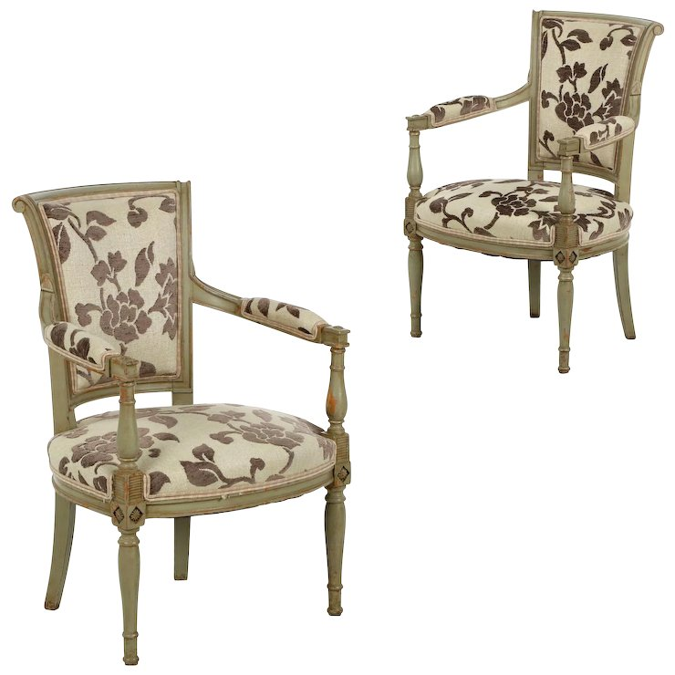 Pair of French Directoire Green Painted Antique Arm Chairs - Pair Of French Directoire Green Painted Antique Arm Chairs : Silla