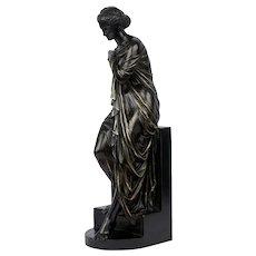 """Venus Bathing"" French Antique Bronze Sculpture by Eugene Aizelin"