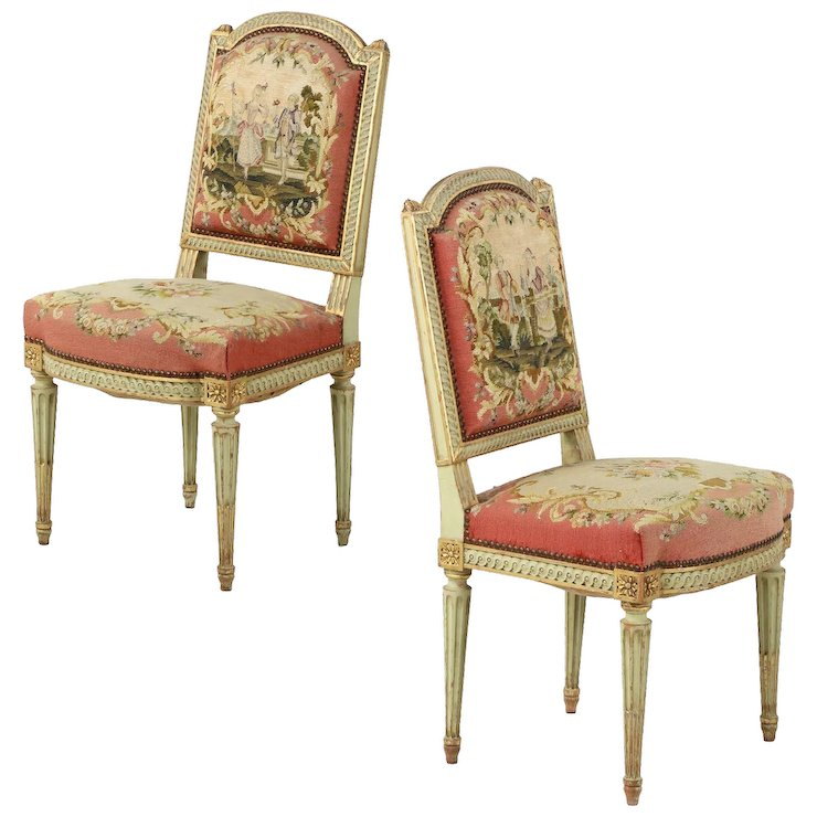 Pair of French Antique Side Chairs in Original Green Paint, Louis XVI  Style, 19th - Pair Of French Antique Side Chairs In Original Green Paint, Louis