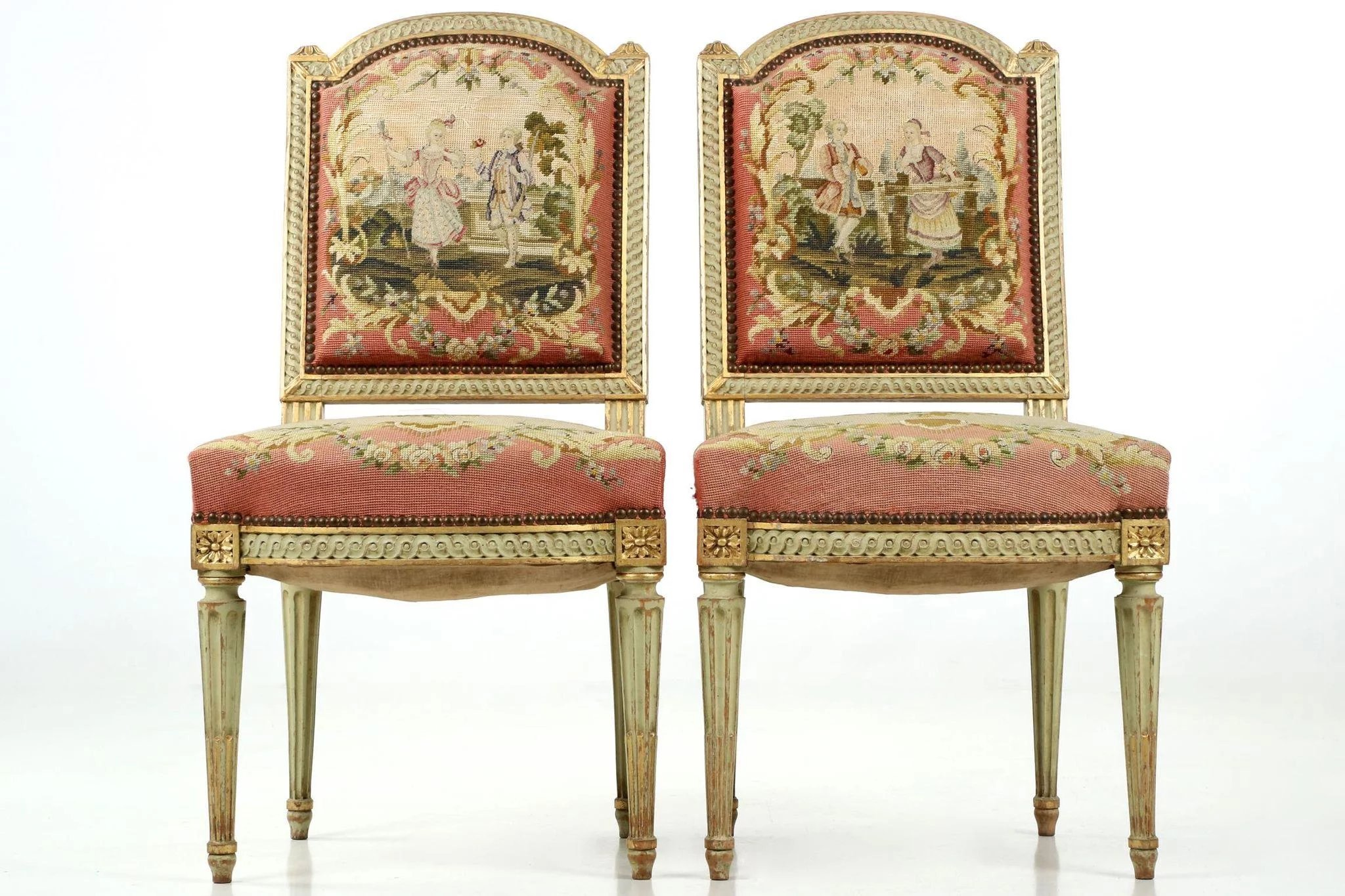 Pair of french antique side chairs in original green paint - Sillas louis xvi ...