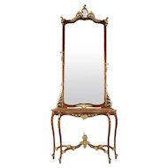 Continental Antique Walnut Pier Mirror and Console Table, 19th Century
