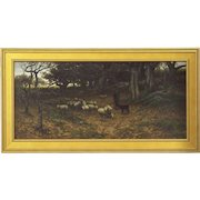 John Carleton Wiggins Antique Landscape Painting of Sheep c. 1883