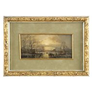 Adolf Stademann Antique German Painting of Winter Landscape, 19th Century