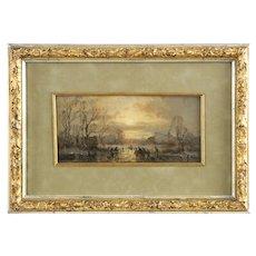 Barbizon Antique German Painting of Landscape by Adolf Stademann