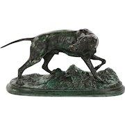 Antique French Bronze Sculpture of Pointer Dog, Pierre Jules Mene