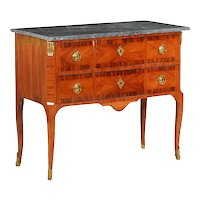 19th Century French Louis XV Antique Gray Marble Commode Chest of Drawers