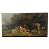 Friedrich Johann Voltz Antique Landscape Painting of Cattle and Cowherd