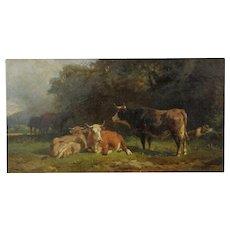 Friedrich Johann Voltz Antique Landscape Painting of Cattle and Cowherd