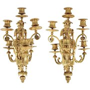 Pair of Antique French Gil Bronze Wall Candle Sconces, 19th Century