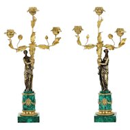 Empire Style Gilt Bronze Malachite Antique Figural Candelabra, 19th Century