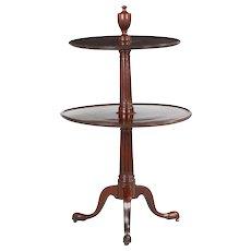 English Georgian Mahogany Dumbwaiter Antique Side Table c. 1790