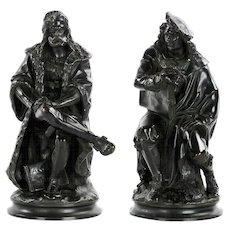 Pair of Antique French Bronze Sculptures of Rembrandt and Albrecht Durer