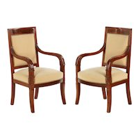 Pair of Empire Style Carved Mahogany Bergere Arm Chairs, Early 20th Century