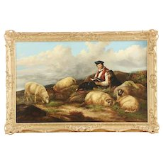 James Morris Antique Painting of Sheep and Shepherd c. 1857