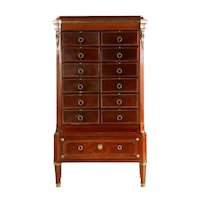 French Antique Chest of Drawers Cartonnier Cabinet in Louis XVI Style