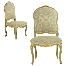 Pair of French Louis XV Green Painted Antique Side Chairs, 19th Century