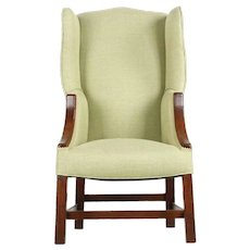 19th Century English Georgian Wingback Arm Chair of Small Size