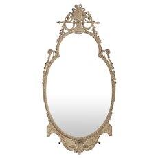 Adam's Style White Painted Distressed Antique Pier Wall Mirror, Early 20th Century