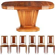 Art Deco Carved Walnut Dining Set of Six Leather Chairs and Table c. 1920