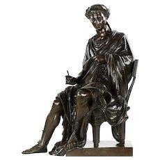 French Bronze Antique Sculpture of Roman Poet Horace, 19th Century