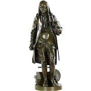 "Jean-Jules Salmson French Antique Bronze Sculpture of ""Benjamin Franklin"" circa 1870-90"