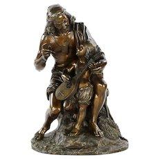 Fine Antique Bronze Sculpture of Fisherman w/ Lute, 19th Century