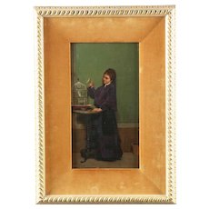 Fine Antique Painting of Woman w/ Canary attr. Alfonso Savini c. 1874