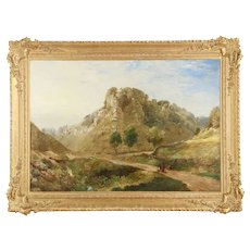 Very Large Antique English Landscape Painting of Mountains, 19th Century