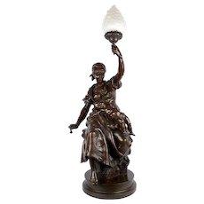 """""""Fileuse et Enfant"""" Torchiere Lamp Antique Bronze Sculpture by Emile Peynot, 38"""" H"""