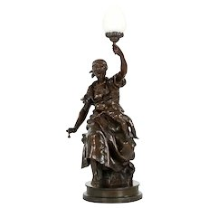 """Large 38"""" H Emile Peynot Bronze Sculpture of Mother and Child"""