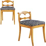 Pair of Biedermeier Style Lowback Antique Side Chairs, 19th Century