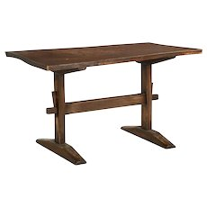 Arts and Crafts Oak Antique Trestle Library Table