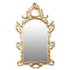 French Rococo Antique Hanging Wall Mirror in Carved Giltwood